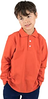 Kids & Toddler Boys Girls Long Sleeve 100% Cotton Uniform Polo Shirt Variety of Colors (Size 2-14 Years)