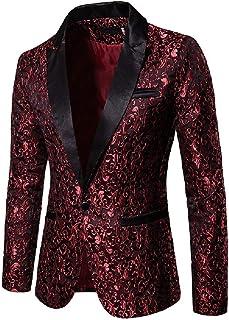 FSSE Men Clubwear Casual Slim Printed Business Dance Prom Dress Blazer Jacket Suit Coat