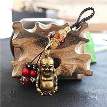 2pcs Vintage Solid Brass Maitreya Buddha Statue Key Chain Pendants Pure Copper Laughing Big Belly Buddha Keychains Hanging...