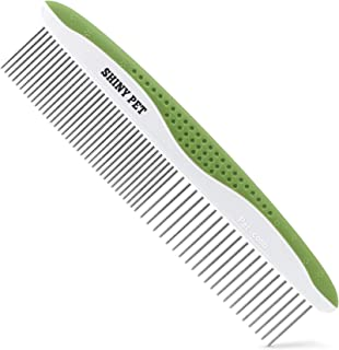Dog Comb for Removes Tangles and Knots - Cat Comb for Removing Matted Fur - Grooming Tool with Stainless Steel Teeth and E...