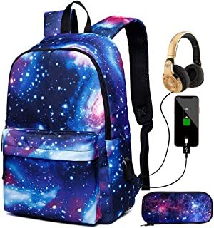 New Star Sky Printed Shoulders Bag with USB ,with Headphone Plug Fashion Casual Daypack Backpacks Trendy Galaxy Pattern Ba...