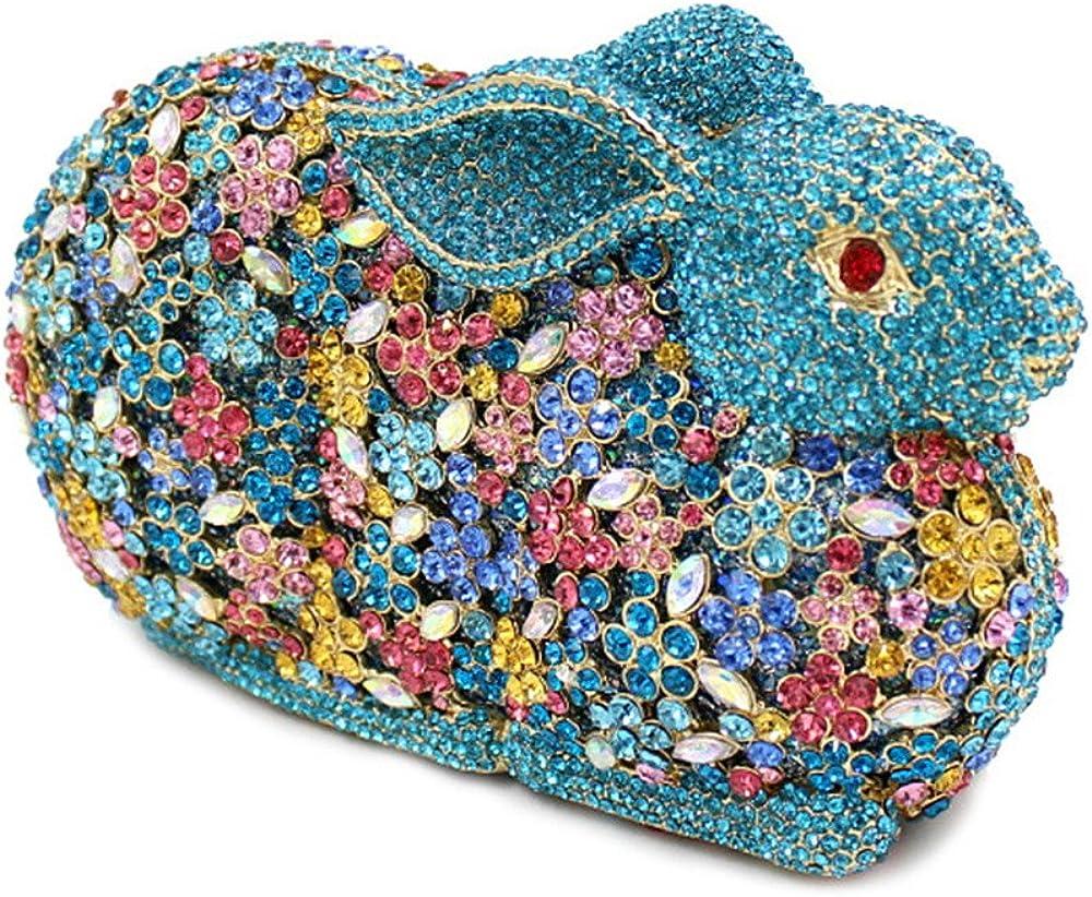 Chirrupy Chief Luxury Bling Daimond 3D Rabbit Rhinestone Clutches Evening Bag