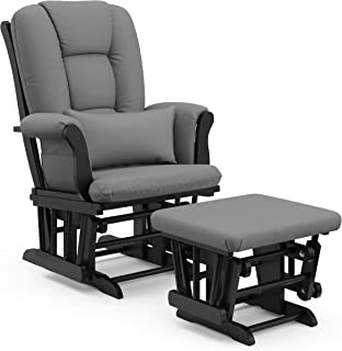 Storkcraft Tuscany Custom Glider and Ottoman with Free Lumbar Pillow, Black/Grey, Cleanable Upholstered Comfort Rocking Nu...