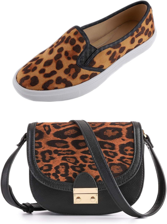 Feversole Womens Fashion Leopard Shoulder Purse Bag and Slip On Size US8.5 Bundle