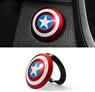 Car Engine Start Button Cover ABS General Motors Ignition Switch Trim Cover Captain America Auto Start Ring