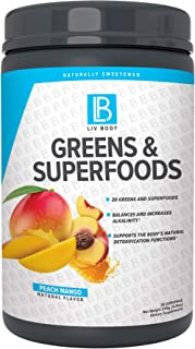 LIV Body | LIV Greens & Superfoods | 28 Greens and Superfoods, Added Probiotics & Digestive Enzymes | 2 Great Flavor Optio...