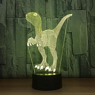 Dinosaures 3D Petite veilleuse de noël s créative Intelligente décoration de la Maison lumières LED Belle 7 Changement de ...