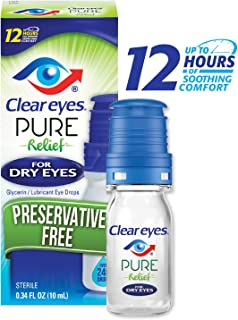Clear Eyes | Pure Relief | Preservative Free Eye Drops | Dry Eyes | 0.34 FL OZ