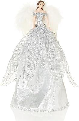18 cm Ange dor/é avec jupe /à motifs Cimier de sapin de No/ël