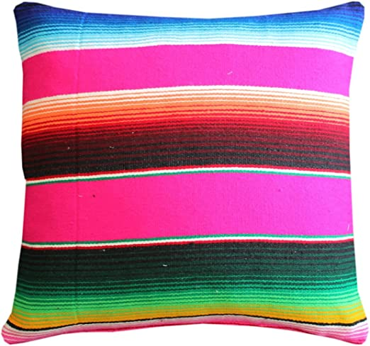 Amazon Com Del Mex Serape Throw Pillow Cover 18 X 18 Mexican Blanket Style No Fringe Pink Home Kitchen
