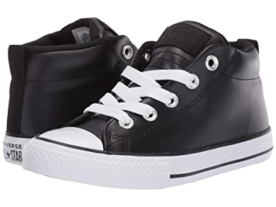 Converse Kids Chuck Taylor All Star Street Mid (Little Kid/Big Kid) (Black/Black/White) Boys Shoes