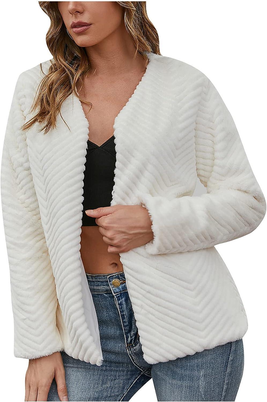 Allasfun Women Warm Coats Faux Coat Winter Warm Furry Faux Jacket Long Sleeve Outerwear