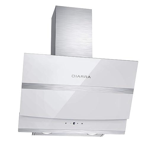 Ciarra Hotte aspirante inclinée 60cm - Hotte Tactile - 750 m³/h - 3 Vitesses d'évacuation- Recyclage - LED Lampe - Filtre à graisse aluminium - verre blanche - Touch Control