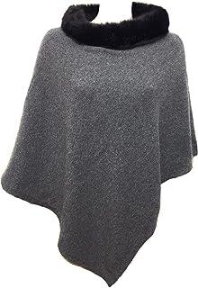 Fantasie Terrene - Firenze. Poncho Cashmere donna, con collo in finta pelliccia di alta qualità, fatto a maglia. Made in I...