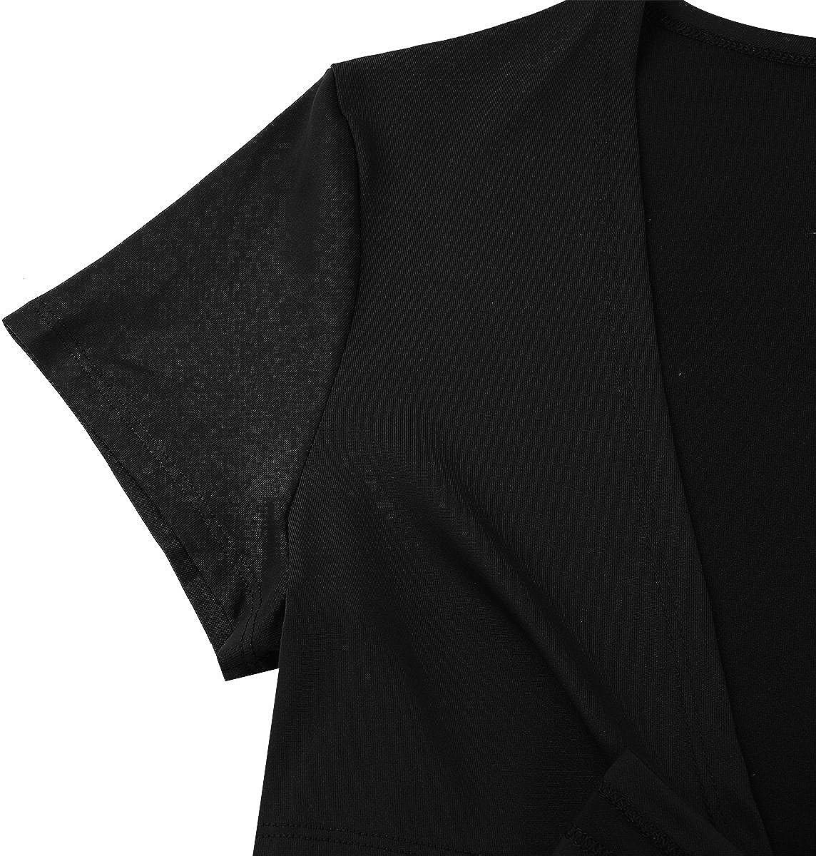 Aislor Womens Fashion Deep V Neck Short Sleeve Front Tie Up Bolero Cardigan Crop Top Shrug Shirt