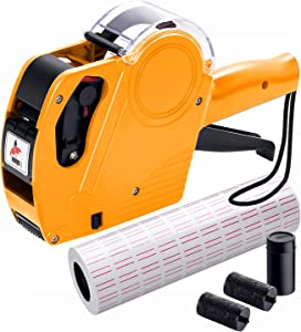 MX5500 Pricing Tag Gun with 5150 pcs White Label Gun Stickers & 3 Extra Inker Rollers, Pricing Label Gun, 8 Digits Retail Pricing Gun and Labels for Grocery Store, Food(Yellow)