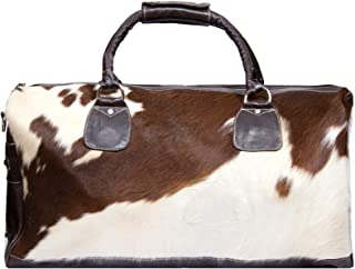 Deluxe Leather Holdall Brown Bag Genuine Cowhide & Cow Weekend Duffel Travel