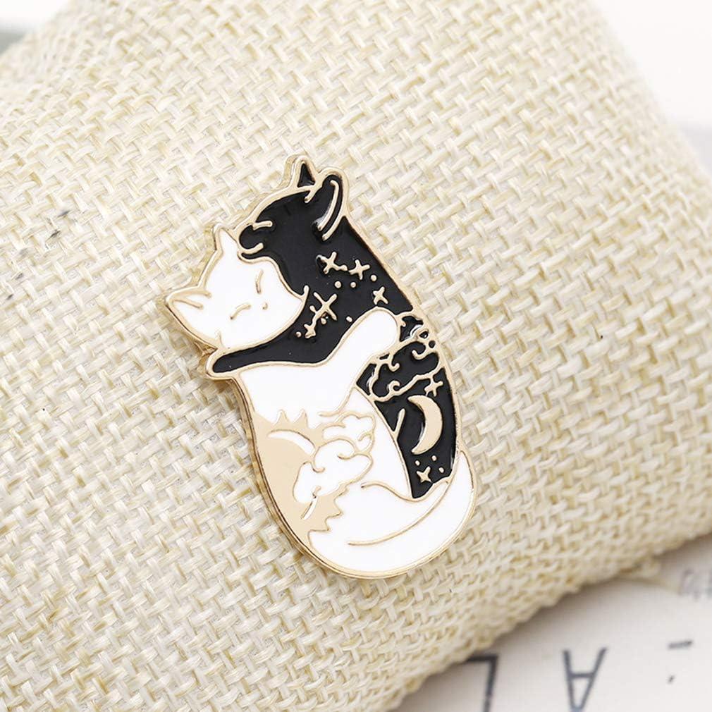 GUAngqi Black and White Cat Enamel Pin Cute Cat Lapel Pin Good Luck Lucky Charm Pin