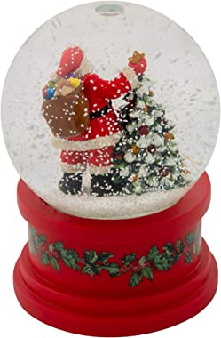 Roman Santa With Tree Plays Tune Here Comes Santa Claus 5.75 Inch Holiday Glitter Globe