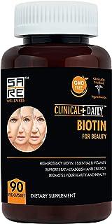 Biotin Beauty Supplement. 90 Capsules 10000mcg with Rice Powder. Pure Vegan Pills for Hair, Beard, Skin and Nail Growth. N...