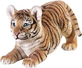 Hand Painted Tiger on The Prowl Figurine for Indoor/Outdoor Use - Resin Garden Statue Decoration with Realistic Texture, Hand-Painted Black Tiger Stripes