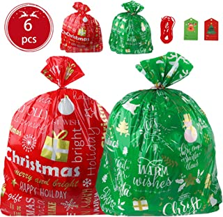 6pcs Jumbo Bags Set, for Giant Xmas Present with Gift Tags, 36 Inches Wide 44 Inches High Large Size Sacks, Easy Holiday Wrapping Heavy Duty Pack