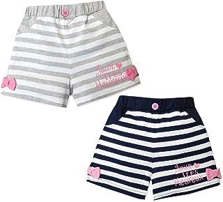 子供服 女の子 ショート パンツ ボトム ウエストゴム ボーダー リボン装飾 飾りボタン ロゴプリント 女児 キッズ