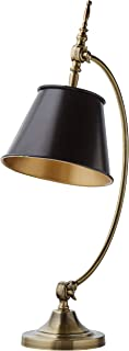 Stone & Beam Vintage Antique Arc Table Desk Lamp With LED Light Bulb - 19.5 x 10 x 25 Inches, Brass and Black