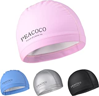 Peacoco Lycra Swim Cap PU Swimming Cap for Women and Men Adult Comfort Stretch Swimming, Bathing and Shower Hair Cover Swim Caps Protective Ear Caps