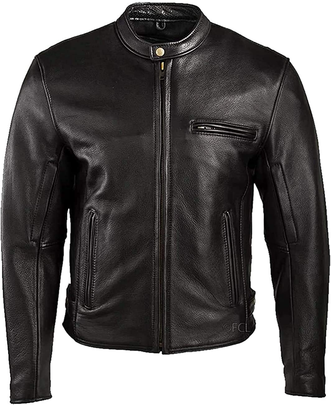 Fashion Men Black Selling and selling genuine leather Branded goods Co Milled Grain jacket-Natural