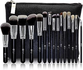 FEIYAN Makeup Brush Set Professional Luxury Super Soft Bristles Makeup Brushes with Kabuki Face Powder Foundation Blush Eyeshadow Blending Cosmetics Make Up Brushes Kit (15pcs Black Silver)