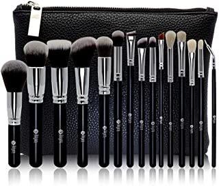 FEIYAN Makeup Brush Set Professional Luxury Super Soft Bristles Makeup Brushes with Kabuki Face Powder Foundation Blush Eyeshadow Blending Cosmetics Make Up Brushes Kit (15pcs Black Silver)