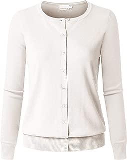 JSCEND Women's Long Sleeve Button Down Crew Neck Soft Knit Cardigan Sweater