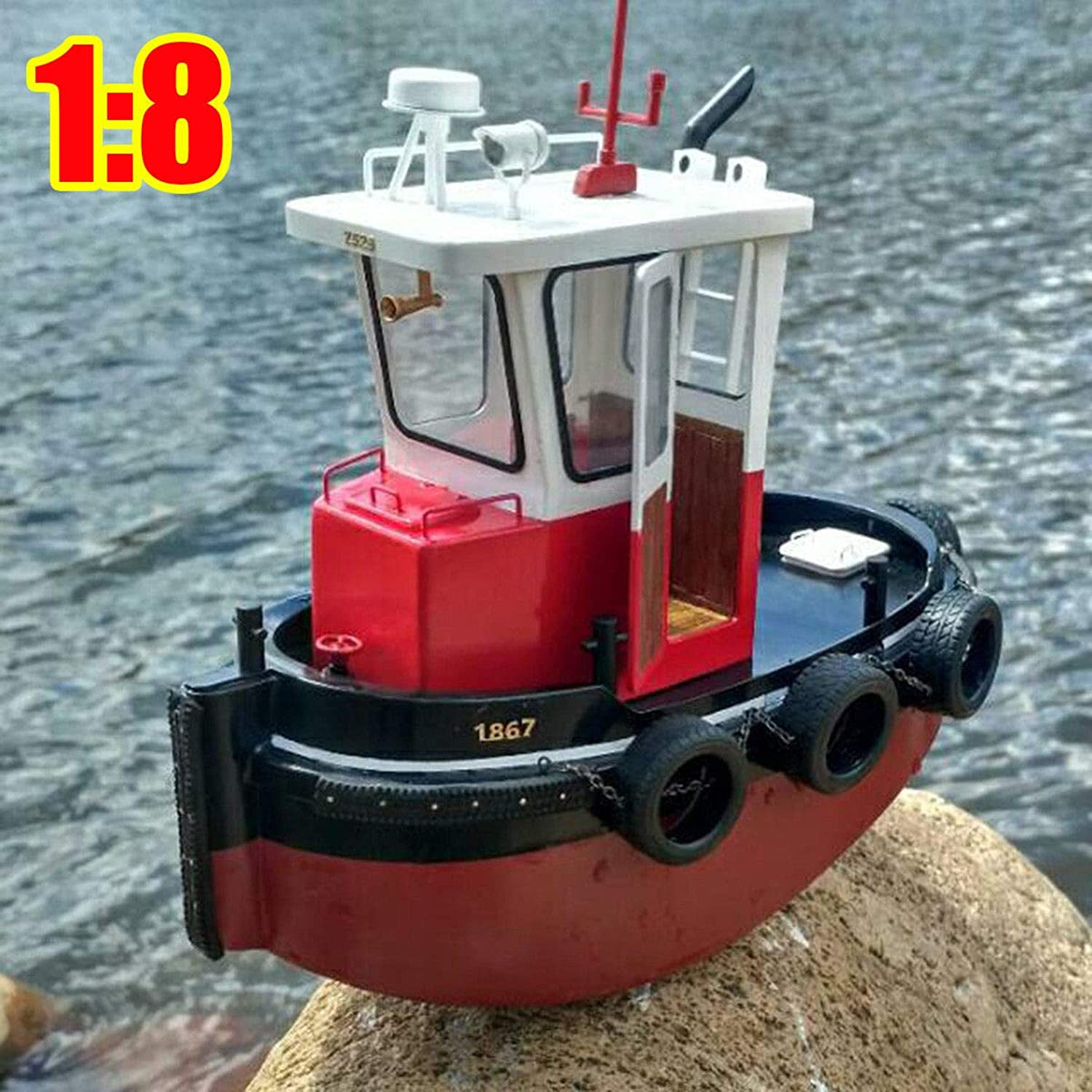 FidgetKute 1 18 RC Tugboat Rescue Simulation Simulation Simulation ABS Wooden Boat Model Ship DIY Kit Kids Gift 2d3a0a