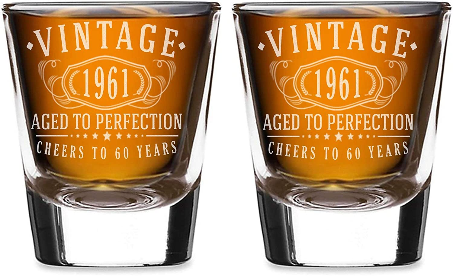 2pk Vintage 1961 Etched Large special price !! 2oz Shot Glasses Birthday Aged - Very popular 60th to