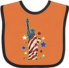 Inktastic Statue of Liberty Baby Bib Orange and Black
