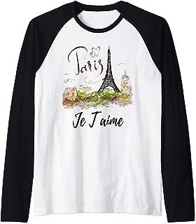 Eiffel Tower Paris Shirt Vintage I Love Paris France City  Raglan Baseball Tee