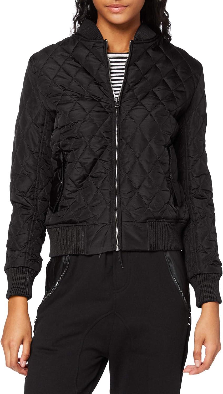 Urban Classics Ladies Light Jacket TB806 Ladies Diamond Quilt Nylon Jacket Color: black in Size: X-Large