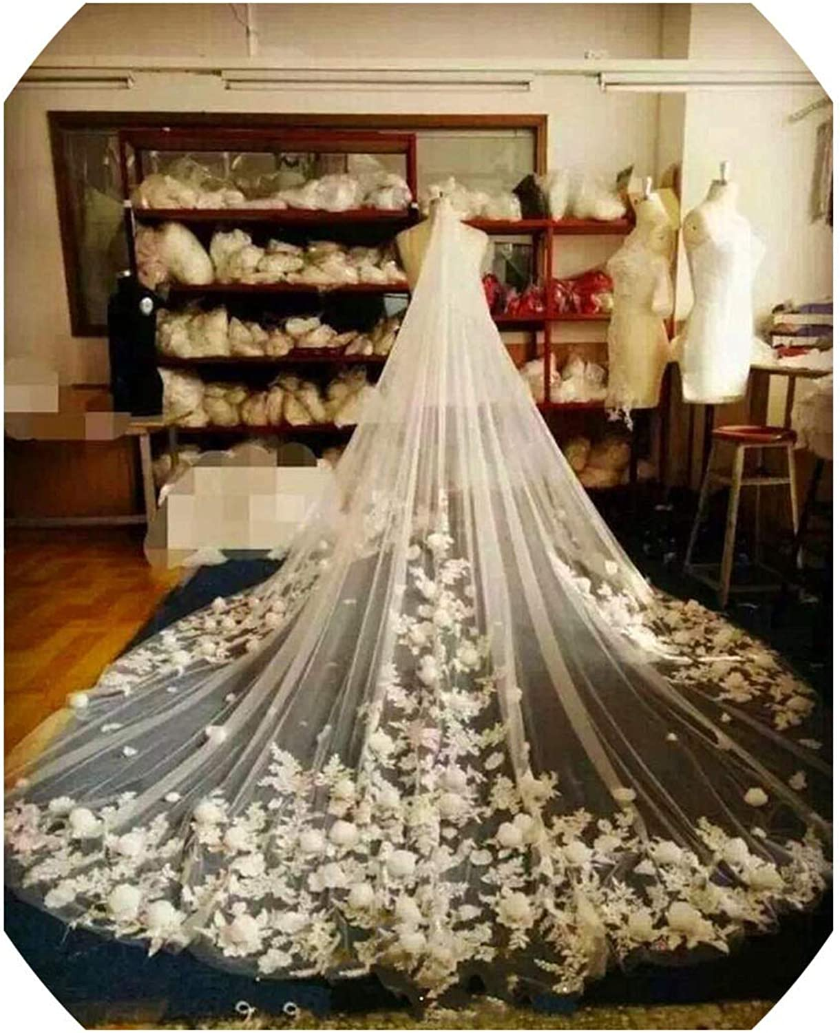 Cathedral Veil with 3D Floral Appliques One Layer Designed For Church Wedding Be Wedding Accessories with Comb,Ivory,300cm