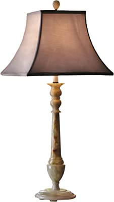 A Ray Of Light 1800CELFB 24 Celadon Green Distressed Glazed Ceramic Table Lamp with French Beige Silk Shade