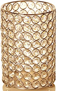 VINCIGANT Gold Cylinder Crystal Vase/Candle Holders for Dinning Room Coffee Table Decorative Centerpieces,Multi Colored Starry String Light Included,Wedding/Anniversary/Housewarming Gifts