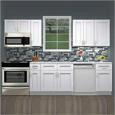 Amazon Com Lily Ann Cabinets 10 Foot Run Wood Kitchen Cabinets Ready To Assemble Rta Summit Shaker White Home Kitchen