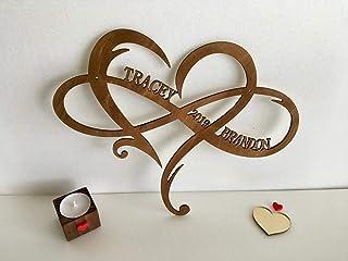Personnalisé Signe en bois, Forme de cœur avec symbole infini Cadeau de mariage, 2 noms année et cœur, Symbole Infinity, C...