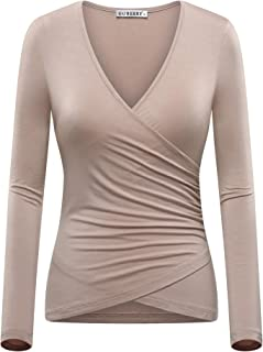 96aa2ecc91fee7 GUBERRY Women s Deep V Neck Long Sleeve Unique Cross Wrap Sexy Slim Fit Tops