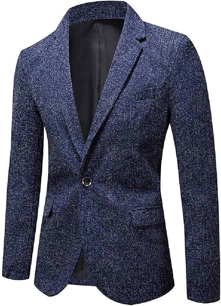 Men's Regular Fit Business Casual One Button Dress Blazer Jacket Sport Coat