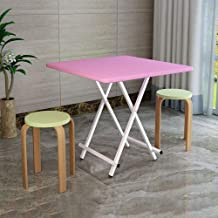 YbauShop Fold Table Outdoor Portable Dining Table Square Home Small Apartment Desk Bed,Indoor,Camping (Color : Pink, Size : 60 * 55CM)