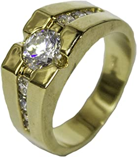 Men's 18 Kt Gold Plated Dress Ring Brilliant Cut CZ Pattern 077