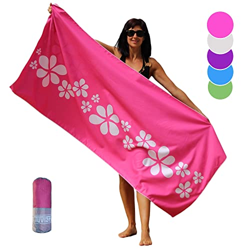 Tuvizo Beach Towel - Microfiber Quick Dry Sand Free Oversized Towels with Travel Bag 71 x 31""