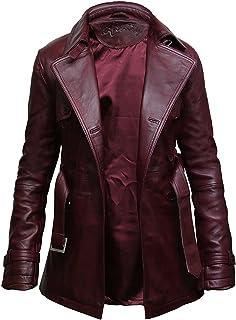 ABSY Womens Leather Jacket Long Real Lamb Skin Coat Vintage Retro Design