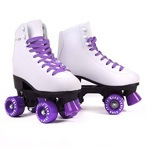 Cal 7 Roller Skates for Indoor & Outdoor Skating, Faux Leather Boot with Quad Design